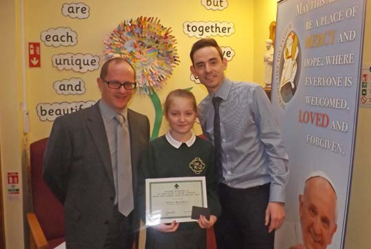 Shanua Magorrian – St Francis PS photographed with Principal Mr John Paul Magee & Mr Toni Keeley (SMHS)