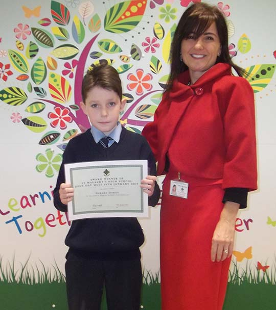 Gerard Doran – St Malachy's PS Castlewellan  with Mr Mrs Kathy McLarnon (SMHS)