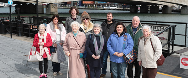 Volunteers and participants from Glebe House near Kilclief enjoyed a boat trip on the River Lagan around the Titanic Quarter.