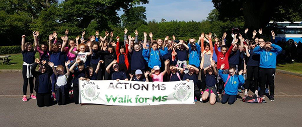 St Mary\'s High School pupils in Downpatrick walk at Delamont Country Park to support Action MS