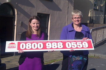 Bryson Energy Referral Manager Louise Magee pictured with South Down MP Margaret Ritchie at the SDLP constituency office in Saul Street in Downpatrick help launch the Warm Home Scheme last year.