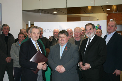 DUP Councillors William Dick, Billy Walker and Garth Craig met with local farmers to discuss delays in wind turbine planning applications. Included is DDFFRE chairman Alan Montgomery, right.