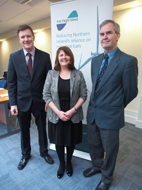 Dr Conor Patterson, panel chair, with Audrey Byrne, President of Newcastle Chamber of Commerce and John Smyth, Ardglas Harbour Master.