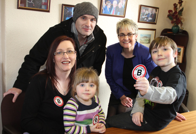 Promoting the new Meningitis vacine are South Down MP Margaret Ritchie, second right, with Rita, Chloe, Neal and Fionn Denvir from Newcastle.