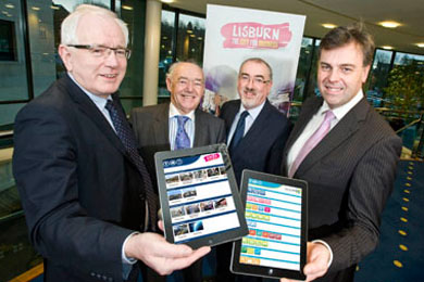 At the launch were Alderman Allan Ewart, Lisburn City Centre Manaement Chairman, Alderman Jim Dillon, Chairman of Lisburn Economic Development Committee, Colin McClintock, Director of Environmental Srvices, and Alastair Hamilton, Invest NI CEO.