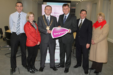 Get your business Beyond: Michael Forster, Beyond Business Adviser, Ciara Tiernan, Willowtree Timber Products, with Down District Council Chairman Councillor Mickey Coogan, Mark Bleakney, Invest Ni Southern Area Manager, guest speaker John Arbuckle, and Councillor Anne McAleenan, Chairperson of the Economic Development Committee pictured just before a Beyond seminar in the new Down Civic Forum buildings in Downpatrick.