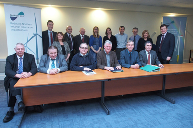 The First Flight Wind Community Stakeholder Panel chaired by Dr Conor Patterson, back right.