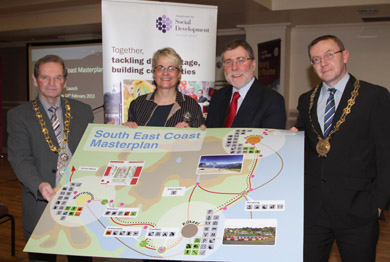 At the launch of the South East Masterplan in Kilkeel were John McArddle, Mayor of Newry and Mourne District Council, South Down MP Margaret Ritchie, DSD MInister Nelson McCausland, and Down District Council Chairman Councillor Mickey Coogan.