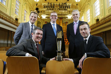 Simon Hamilton MLA, back centre, with Jeremy Fitch, Invest NI, Brian McErlain, Genesis Bakery and 2012 Entrepreneur of the Year finalist. Front row, Frank O'Keefe and Rob Herron, Ernst and Young NI   Partners.