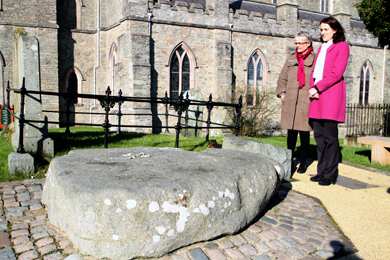 Margaret Ritchie, South Down MP, hosted a visit to St Patrick's Country from Theresa Villiers MP, Secretart of State for Northern Ireland.  They are pictured at St Patrick's Grave.