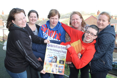 Gettting support! Cheryl Martin, Megan and Sabrina O'Hanlon, Marceila Martin, and Catherine O'Hanlon supporting Scott Martin on his leg of the William Syndrome charity walk from Belfast to Dublin in April.