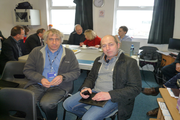 Dr Matt Service AFBI and Davey Hillm ANIFPO prepare for the First Flight Wind Commercial Working Group.