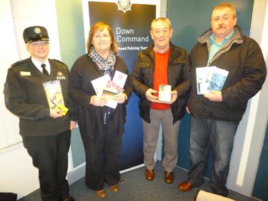 Constable Karen Thomas, Newcastle Neighbourhood Policing Team, Nuala McElroy, MARA Project Co-ordinator,  Patrick and Brian Morgan , Kilcoo Neighbourhood Watch Co-ordinators.