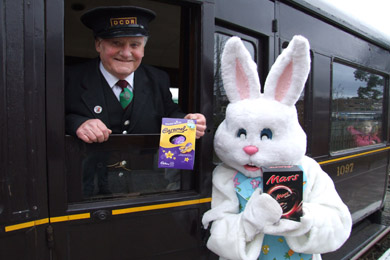 George Legge from the Downpatrick and County Down railway greets the Easter Bunny  who want to met lots of boys and girls.