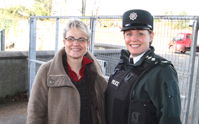 South Down MP Margaret Ritchie with PSNI Area Commander Deirdre Bones look over the site where work has commenced on a new police station adjacent to the Down Civic Centre in Downpatrick.