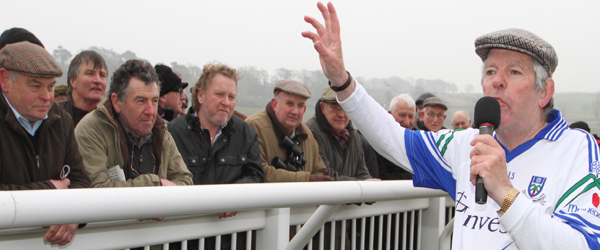 Monaghan horse trainer and racing character gets the crowd going at the first race meeting of he year in Downpatrick.