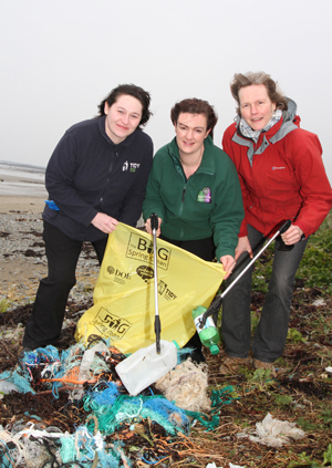 Getting ready for the Big Spring Clean at Minerstown beach are Tidy NI Campaign Officer Patricia Magee,  Rebecca McGreevy, Down Council Assistant Education Officer, and Doris Noe, Lecale Conservation Chairperson.