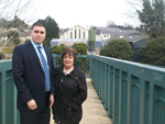 UKIP representative Alan Lewis pictured with Dawn Porter on the bridge in Ballynahinch where she fell.