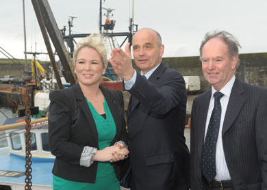 Fisheries Minister Michelle O'Neill officially opened a new £300k fish market and ice plant facility ar Ardglass Harbour. Looking over the new facility are also Kevin Quigley, NIFHA Chieef Executive, and Terry Jarvis NIFHA Chairman. (Photo by Aaron McCracken/Harrisons).