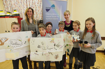 Victoria McCabe from First Flight Wind met the staff and students from Brackenagh West Primary School in Kilkeel, and spoke to them about renewable energy and the offshore wind farm project. Pictured with Victoria are (L-R) Matthew McConnell, Richard Houston, Jenna McConnell, Cory Donnan, teacher Diane Haugh, Ellie Tremlett and Kaitlyn Hanna.