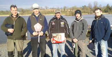 Winners of Islandderry Fishery's winter league - left to right, Noel Roberts (4th), Bill Johnston (1st), Ronnie McFadden (2nd), Andy McCandless (3rd) and George Dumigan (5th)