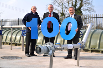Bill Gowdy Director of Engineering Procurement NI Water, Regional Development Minister Danny Kennedy, and Trevor Haslett Chief Executive of NI Water.