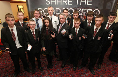 Pupils from St Colman's High School in Ballynahinch back the campaign launched by Minister Alex Arrwood to reduce road deaths to zero (Photo by Brian Thompson / Press Eye.)
