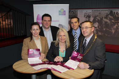 At the launch of the Beyond Down Business were Anny and David McNeil of thegreenhouseni, Beyond NI staff Vickie Maquire, Outreach Officer and Michael Forster, Business Interlligence Officer, and Down District Council Chairman, Councillor Mickey Coogan.