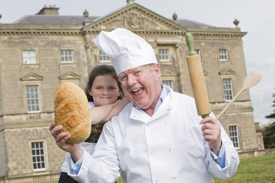 UTV presenter Julian Simmons pictured with Lily O'Connor from Downpatrick ready for the Bread Festival at Castle Ward.