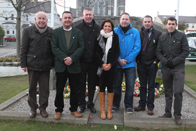 Pictured after the Easter Rising commeroration at the Castlewellan memorial were Councillors Mick Murphy, Willie  Clarke, Peter Kearney, Noleen McPolin, CC Chairperson, South Down MLA Chris Hazzard, with Councillors Paul Gribben and Stephen Burns.