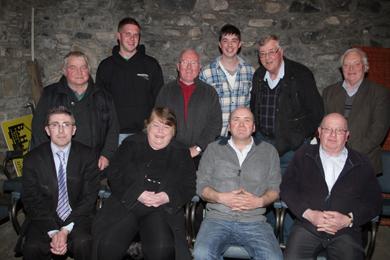 The Claragh Bridge Management team: back row, Frances Sloan, Patrick O'Connor, David Milne, Patrick Burns, Bill Palmer, and Joe Greaves, with front rowm Councillor Patrick Clarke, Elizabeth Doyle, secretary, Liam Quinn, chairman and Liam O'Connor, treasurer.