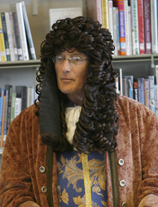 Sir Hans Sloane aka Clive Scoular, local historian, in Killyleagh Library.