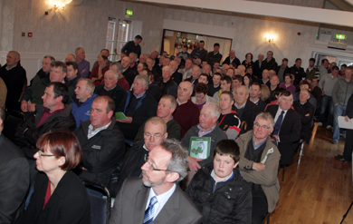 A packed audience of South Down farmers ready to listen to DARD MInister Michele O'Neill.