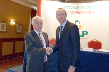South Down MLA Seán Rogers pictured with ROI Farming Minister Simon Coveney TD.