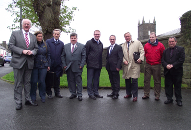Looking over Saintfield built heritage are Strangford MP Jim Shannon, Barbara Graham, SDA member, Cllrs William Dick and Billy Walker, Simon Hamilton MLA, DOE Minister Alex Attwood, Gerry Lowe, SDA Chairman, Simon Thompson SDA member and Cllr Terry Andrews.