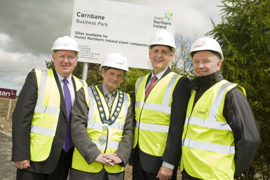 nvest Northern Ireland has announced the completion of the first phase of the extended business park at Carnbane Industrial Estate in Newry.  Pictured at a recent visit to the business park are (from left) Bill Scott, Invest NI, John McArdle, Mayor of Newry and Mourne, Mark Bleakney, Invest NI and Paddy Harney, Lagan Construction.