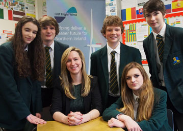 Victoria McCabe of First Flight Wind with geography pupils from Down High School.