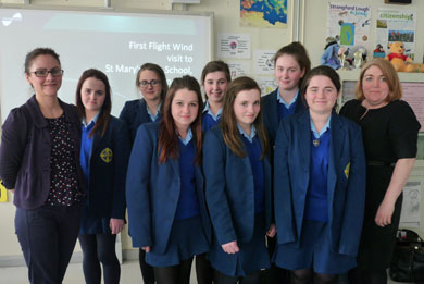 Sinead Maquire of First Flight Wind with teacher Catherine Brown and pupils from St Mary's HIgh School in Downpatrick.