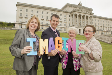 The Imagine Arts Festival for older people - the first ever event of its kind to be held in Northern Ireland - takes place at Belfast Waterfront on Saturday 8 and Sunday 9 June.   Senior citizens from Newry's Acting Up theatre group, who are taking part in the Festival, joined with Ministers at Stormont to raise awareness of how the arts can enrich the lives of older people. Pictured with Health Minister Edwin Poots are (from left) Councillor Bernie Kelly, Chair of Belfast City Council's All Party Older Peoples Group and Angela Finnerty and Margaret McArdle from Newry's Acting Up group.