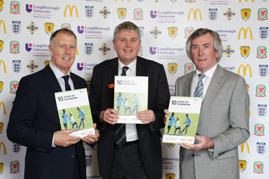 Sir Geoff Hurst, Director of McDonald's Football, and Football Head Pat Jennings with South Down MLA Jim Wells, centre forward, at the launch of the