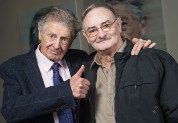 Jimmy Ellis gives George Shane the thumbs up for reviving his role as Norman Martin in Love, Billy at the Lyric Theatre which opened on 1 May. (Photo by Neil Harrison.)