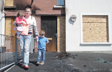 Jade McCaul from Downpatrick now homeless after an arson attack on her car sitting outside her front door.