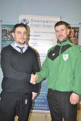 Connor Crane from Downpatrck Credit Union, match sponsor, pictured with Kevin Trueman.