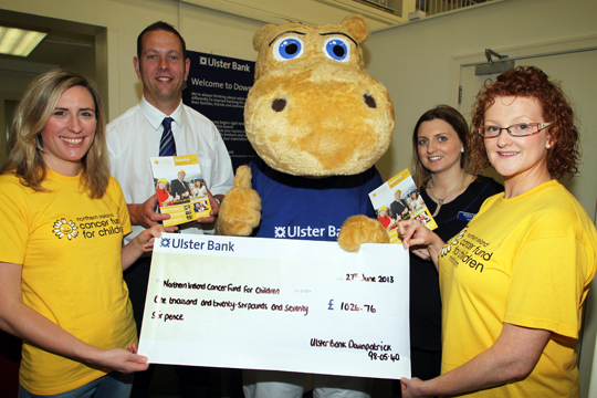 Henry the Hippo from the Ulster Bank gives a thumbs up after an excellent fundraising effort by the staff for the Northern Ireland Cancer Fund for Children.