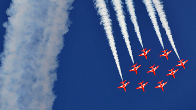 The 2011 Red Arrows team will perform a fly past this Saturday in Newcastle.