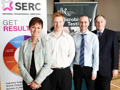At SERC's recent STEMNET seminar are Johnny Wylie from Asidua Ltd, Neil Anderson from Queens University Belfast, Mary Carson STEM Manager from W5 and SERC Principal and Chief Executive Mr Ken Webb