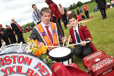 Jack Orr of Ballykilbeg LOL 1040 with drummer boy William Edgar of the Johnston Memorial Flute Band
