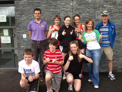 Back Row, Simon McGrattan, Coach, Owen Edwards, Elisha Surginor, Laura Gardiner, Kim Surginor,  Coach and Joe Quinn with front row -Matthew McGrattan, Daniel Atkinson and Aoife Cochrane at the Mary Peters Track on Sunday morning. Missing from photo are Ellen Erskine and Chris O'Connor.