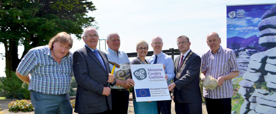 Newry and Mourne Cllr Brian Quinn, Down District Cllr Patsy Toman, East Dorder Region Director, Senator Tony Brennan,  South Down MP Margaret Ritchie, John Devaney, Geotourism Manager, Down Council Chairman Cllr Mickey Coogan, Newry and Mourne Cllr Mick Murphy at the launch of the Geotourism project in Castlwellan.
