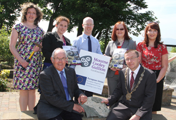 At the launch of the Geotourism project were front row, Down District Councillor Patsy Toman, a Director of the East Border Region group, and Council Chairman Councillor Mickey Coogan, with back row, Siobhan Power, Geogolist, Ann Kelly, Project Marketing Officer, John Denaney, Project Manager, Alison Hermon, Education Officer and Vanessa Ryan, Admin Support.